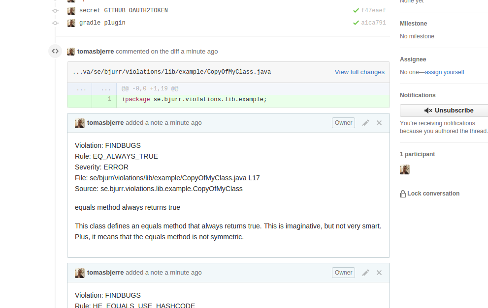 Violation comment in GitHub pull request
