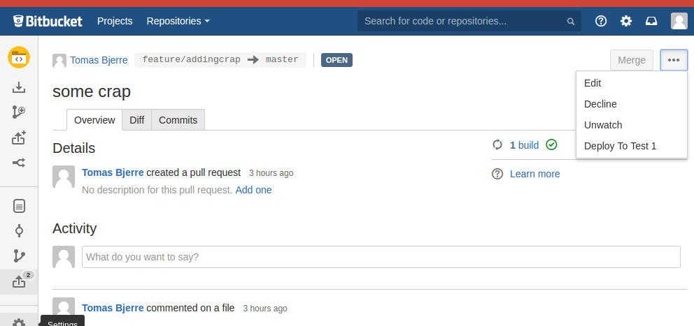 Pull Request Notifier for Bitbucket Server Button In PR view