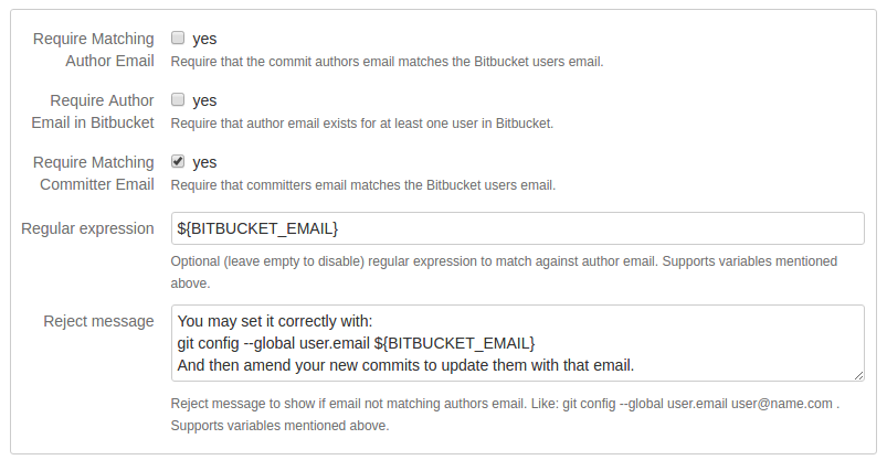 Block committer emails not in Bitbucket Server